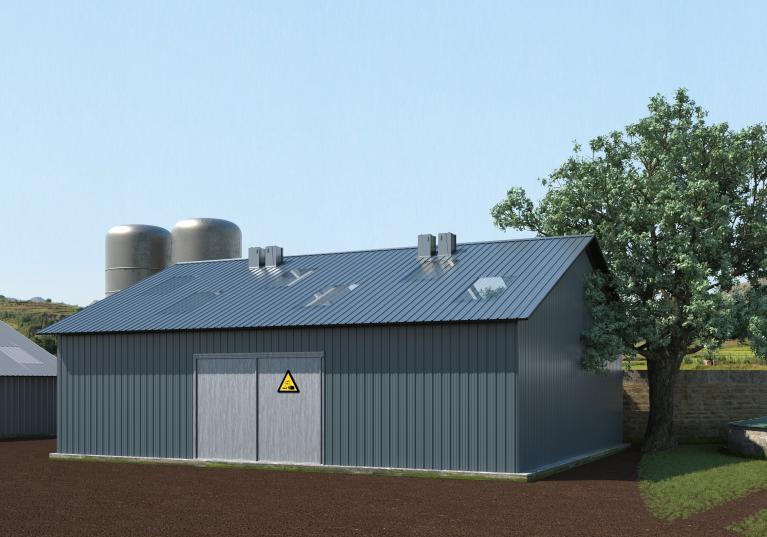 Bâtiment agricole pour le stockage en Onduclair Protect